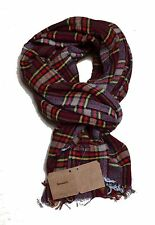 Scarf Timberland Men Women MADE IN ITALY 100% Genuine Nwt Check Bordeaux New