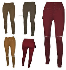 T14 NEW WOMENS SLIM FIT HIGH WAISTED SKINNY COLOURED JEANS LADIES CHINO TROUSERS