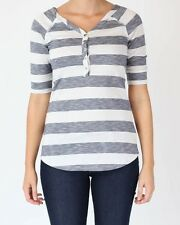 Just Add Sugar Womens Tunic Stripe 1/2 Sleeve Top Off White Dark Navy RRP $49.95