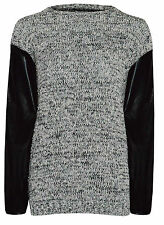 Ladies Girls Knitted Marl Jumper Popcorn PVC PU Wet Leather Sleeves Sweater Top