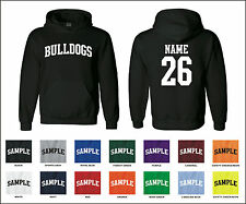 Bulldogs Custom Personalized Name & Number Adult Jersey Hooded Sweatshirt