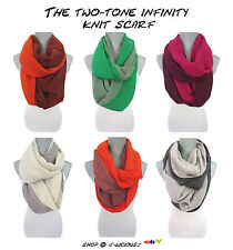 TWO TONE PASHMINA INFINITY KNIT SCARF soft warm eternity winter designer trend