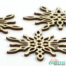 "3x Wooden ""Icy Spike"" Birch Wood Laser-Cut Snowflake Christmas Tree Ornaments"