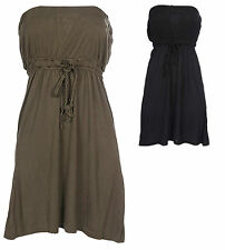 Just Add Sugar Womens Mini Dress Show Off Sleeveless Black Khaki Elastic Tassel