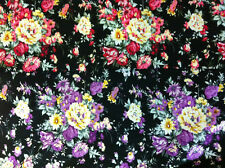 Black & Purple/Pink 97% Cotton Vintage Dress/Craft Fabric. CLEARANCE SALE