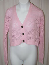 NWT ABERCROMBIE KIDS PINK CARDIGAN BUTTON CROPPED SWEATER SZ S OR L