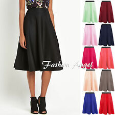 Women Flared Knee Length Skater Skirt Ladies Stretch Midi Office Work Skirt 8-20