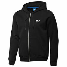 ADIDAS ORIGINALS MENS BLACK SPO FLOCK HOODED FLEECE hoodie FULL ZIP JACKET