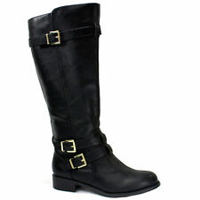 Womens Riding Strappy Knee High Boot Black Gold Accent Buckle Zipper PU-Leather