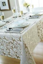 Jacquard Tablecloths Napkins Runners Wine Cream Beige 4 6 8 10 seater Tables