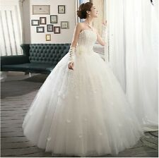 Elegant princess style Strapless white wedding dress With Handmade Flowers