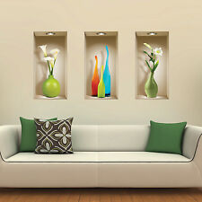 NEW SET 3 WALL STICKER 3D ART PICTURE LIVING ROOM REUSABLE CHRISTMAS DECOR DECAL