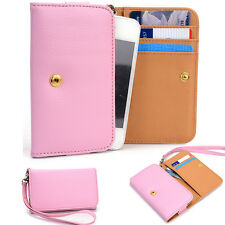 Slim Pink Flip Designer PU Leather Smartphone Wrist-Let Cover Pouch Bag Guard