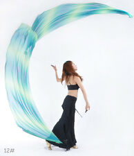 Belly Dance Costume Gradient Silk Veil Poi,1 SET =2 Veils + 2 Poi Chain 31 color