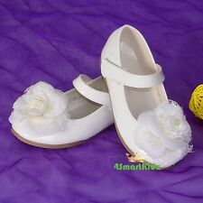 Rosette Velcro Mary Janes Shoes Size US 6.5-13 EU 22.5-30 Wedding Party GS012