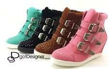 Women's Fashion Velcro Shoes Hidden Wedge Athletic Sneakers Ankle Boots High Top