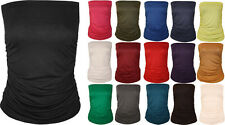 New Womens Plain Strapless Sleeveless Ruched Boob Tube Ladies Bandeau Top 8 - 14