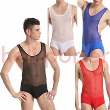 JQK Mens Sporty Sheer See Through Suspender Wrestling Underwear 4 Color