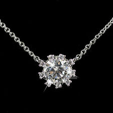 18K GOLD GF MADE WITH SWAROVSKI CRYSTAL PENDANT SOLITAIRE NECKLACE