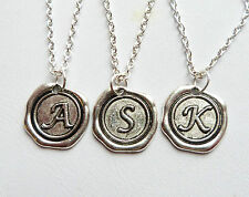 Custom Your Initial Silver Letter Wax Seal Necklace All Letters A-Z Available