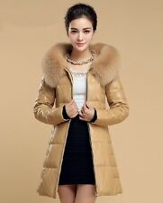 SALE! New Ladies Leather First Layer Sheepskin Down Coat with Fox Fur Collar
