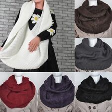 Women Winter Warm Infinity Cable Knit Cowl Neck Long Circle Scarf Shawl Wraps