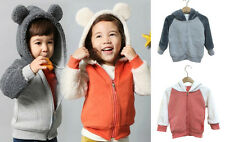 Boy Girl Hoodies Jacket Jumpers Zip Up Sweater (GREY, PINK) BEAR SHELL 1 2 3 4 5