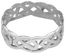 Solid White Gold Celtic Trinity Knot Band Eternity Ring