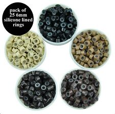 SILICONE LINED micro rings for 1g Stick Tip Hair Extensions - Pack of 25