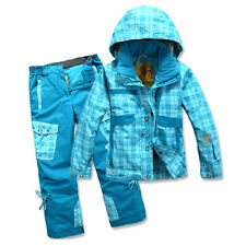KIDs Snowsuit Ski Jacket + Pants Salopettes Waterproof Girls Boys Snowboard Set