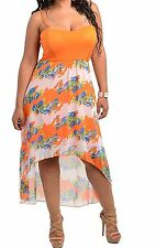 WOMENS PLUS SIZE CLOTHING SEXY LONG ORANGE AND WHITE SHEER SUMMER DRESS