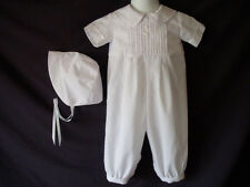 Infant Baby BoysWhite Handmade  Christening Romper Baptism Outfit   0-12  Months