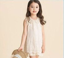 Flower Girl Pearl Lace Vintage Princess Dress Wedding Party with free hairclip