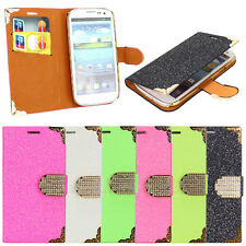 For Samsung Galaxy S3 SIII i9300 Flip Leather Matte Wallet Bling Hard Case Cover