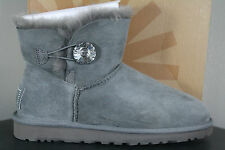 Womens UGG Boot Mini Bailey Button Bling Grey 1003889 ORIGINAL 100% AUTHENTIC!