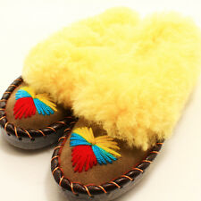 MOCCASIN Slippers Sheepskin  Leather  womens size:5,6,7,8,8.5,9,9.5,10 Handmade.