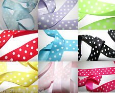Polka Dot Ribbon Pink,Red,Yellow,Lilac,Turquoise,Lime,Black Blue,15mm,25mm,38mm