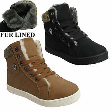 KIDS GIRLS HITOP WINTER SNOW FUR LINED FLAT HIGH TOP TRAINER LACE UP SHOES SIZES
