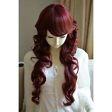 """Wine Red Heat Friendly Long Curly Wavy Princess Lolita Cosplay Party Wig 32"""""""