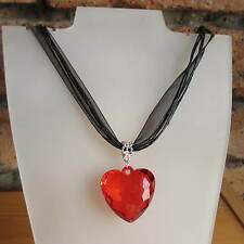 Love Heart Pendant Necklace With Organza Ribbon Burlesque Fancy Dress Many Cols
