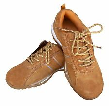 Leather steel toe shoes, Mens, Bartium, honey colored suede, sz 7-11