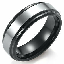 Mens Two Tone Tungsten Wedding Band Slim 7mm Ring New in Box