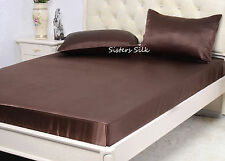 3 pcs 22M/M Heavy Weight Silk Fitted Sheet Pillowcase Sets All Sizes Multicolor