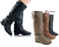 NEW Women's Knee High Slouch Motorcycle Riding Boots Shoes Flat Military COCO-61