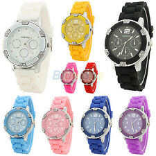 Lady Women Girl Geneva Popular Crystal Stone Silicone Jelly Quartz Wrist Watch