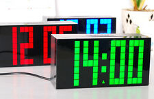 LED Digital Big Number Wall Desk Calendar Temperature Snooze Time Alarm Clock