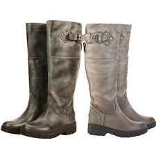 Ladies Dublin Long Waterproof Leather Horse Riding Stable Country Boots Size 4-8