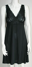 NEW EX MARKS AND SPENCER CLING RESIST FASHION LACE FULL SLIP IN BLACK