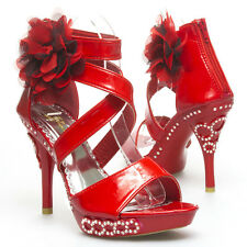 Red Rhinestone Strappy Flower Wedding Prom Party Open Toe High Heel Sandal Shoe