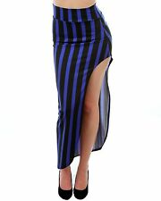 WOMENS PLUS SIZE CLOTHING ROYAL BLUE AND BLACK STRIPED SIDE SLIT SKIRT